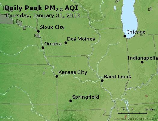 Peak Particles PM<sub>2.5</sub> (24-hour) - http://files.airnowtech.org/airnow/2013/20130131/peak_pm25_ia_il_mo.jpg