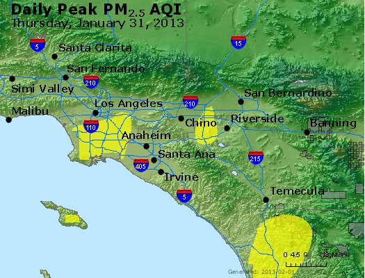 Peak Particles PM<sub>2.5</sub> (24-hour) - http://files.airnowtech.org/airnow/2013/20130131/peak_pm25_losangeles_ca.jpg