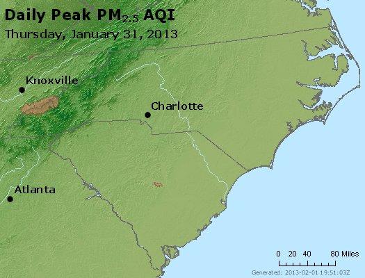 Peak Particles PM<sub>2.5</sub> (24-hour) - http://files.airnowtech.org/airnow/2013/20130131/peak_pm25_nc_sc.jpg