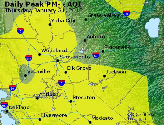 Peak Particles PM<sub>2.5</sub> (24-hour) - http://files.airnowtech.org/airnow/2013/20130131/peak_pm25_sacramento_ca.jpg