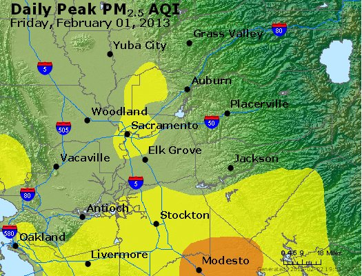Peak Particles PM<sub>2.5</sub> (24-hour) - http://files.airnowtech.org/airnow/2013/20130201/peak_pm25_sacramento_ca.jpg
