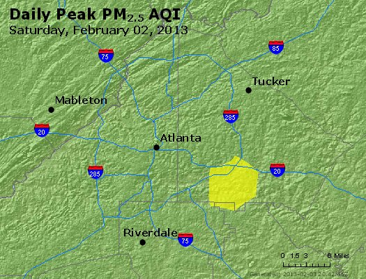Peak Particles PM<sub>2.5</sub> (24-hour) - http://files.airnowtech.org/airnow/2013/20130202/peak_pm25_atlanta_ga.jpg