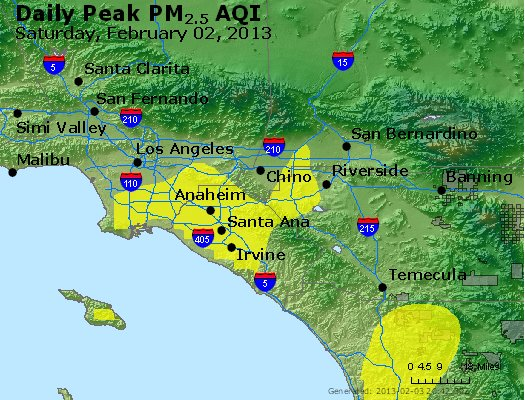 Peak Particles PM<sub>2.5</sub> (24-hour) - http://files.airnowtech.org/airnow/2013/20130202/peak_pm25_losangeles_ca.jpg