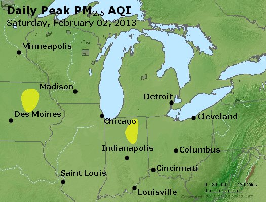 Peak Particles PM<sub>2.5</sub> (24-hour) - http://files.airnowtech.org/airnow/2013/20130202/peak_pm25_mi_in_oh.jpg