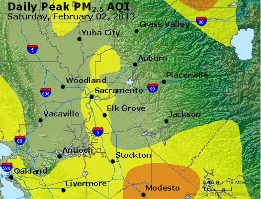 Peak Particles PM<sub>2.5</sub> (24-hour) - http://files.airnowtech.org/airnow/2013/20130202/peak_pm25_sacramento_ca.jpg