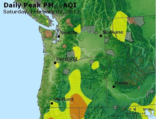 Peak Particles PM<sub>2.5</sub> (24-hour) - http://files.airnowtech.org/airnow/2013/20130202/peak_pm25_wa_or.jpg