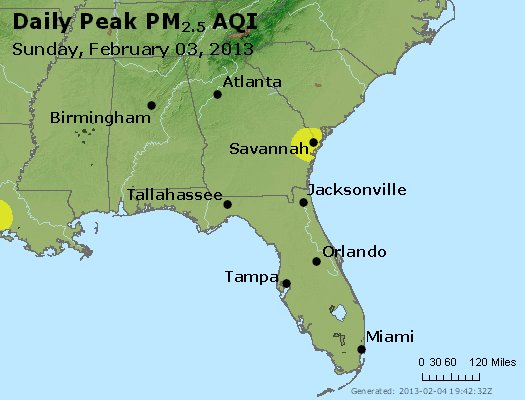 Peak Particles PM<sub>2.5</sub> (24-hour) - http://files.airnowtech.org/airnow/2013/20130203/peak_pm25_al_ga_fl.jpg