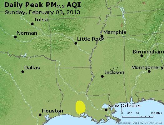 Peak Particles PM<sub>2.5</sub> (24-hour) - http://files.airnowtech.org/airnow/2013/20130203/peak_pm25_ar_la_ms.jpg