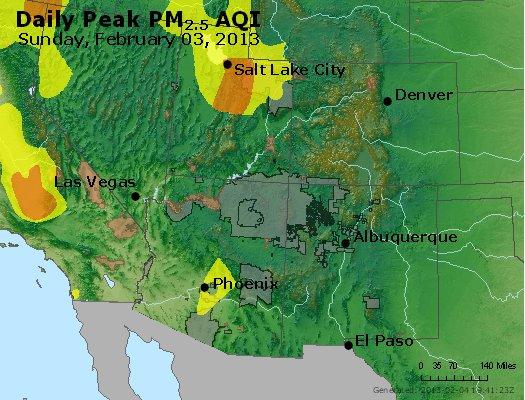 Peak Particles PM<sub>2.5</sub> (24-hour) - http://files.airnowtech.org/airnow/2013/20130203/peak_pm25_co_ut_az_nm.jpg