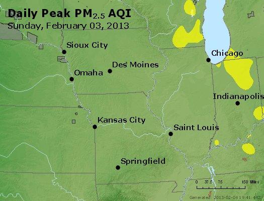 Peak Particles PM<sub>2.5</sub> (24-hour) - http://files.airnowtech.org/airnow/2013/20130203/peak_pm25_ia_il_mo.jpg