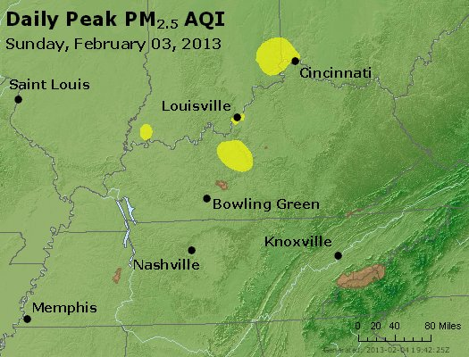 Peak Particles PM<sub>2.5</sub> (24-hour) - http://files.airnowtech.org/airnow/2013/20130203/peak_pm25_ky_tn.jpg