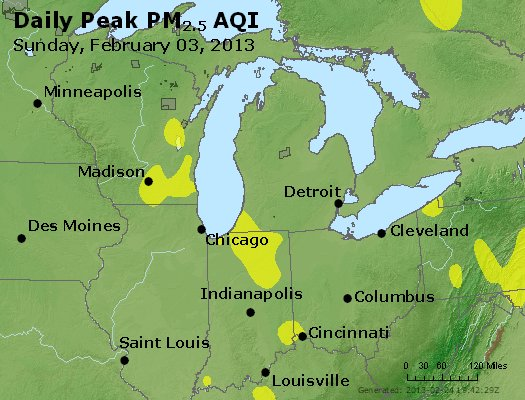Peak Particles PM<sub>2.5</sub> (24-hour) - http://files.airnowtech.org/airnow/2013/20130203/peak_pm25_mi_in_oh.jpg