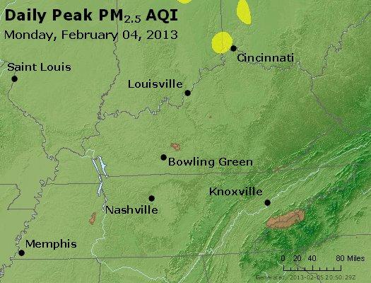 Peak Particles PM<sub>2.5</sub> (24-hour) - http://files.airnowtech.org/airnow/2013/20130204/peak_pm25_ky_tn.jpg