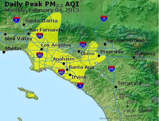 Peak Particles PM<sub>2.5</sub> (24-hour) - http://files.airnowtech.org/airnow/2013/20130204/peak_pm25_losangeles_ca.jpg