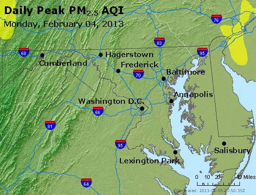Peak Particles PM<sub>2.5</sub> (24-hour) - http://files.airnowtech.org/airnow/2013/20130204/peak_pm25_maryland.jpg