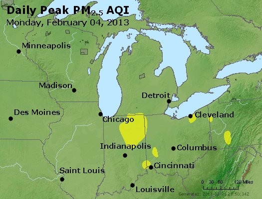 Peak Particles PM<sub>2.5</sub> (24-hour) - http://files.airnowtech.org/airnow/2013/20130204/peak_pm25_mi_in_oh.jpg