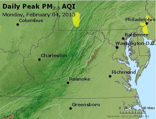 Peak Particles PM<sub>2.5</sub> (24-hour) - http://files.airnowtech.org/airnow/2013/20130204/peak_pm25_va_wv_md_de_dc.jpg