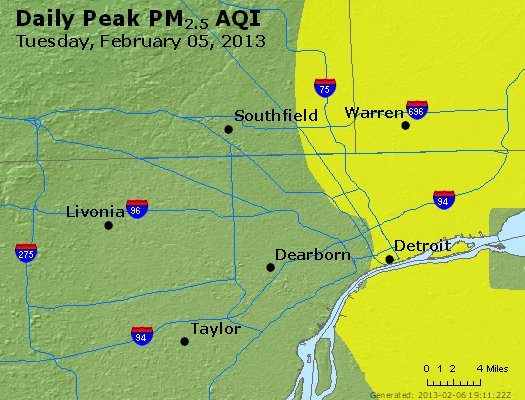 Peak Particles PM<sub>2.5</sub> (24-hour) - http://files.airnowtech.org/airnow/2013/20130205/peak_pm25_detroit_mi.jpg