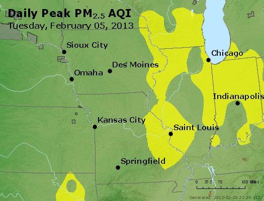 Peak Particles PM<sub>2.5</sub> (24-hour) - http://files.airnowtech.org/airnow/2013/20130205/peak_pm25_ia_il_mo.jpg