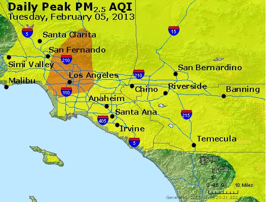 Peak Particles PM<sub>2.5</sub> (24-hour) - http://files.airnowtech.org/airnow/2013/20130205/peak_pm25_losangeles_ca.jpg