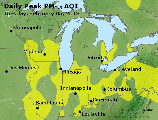 Peak Particles PM<sub>2.5</sub> (24-hour) - http://files.airnowtech.org/airnow/2013/20130205/peak_pm25_mi_in_oh.jpg
