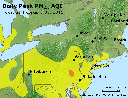 Peak Particles PM<sub>2.5</sub> (24-hour) - http://files.airnowtech.org/airnow/2013/20130205/peak_pm25_ny_pa_nj.jpg