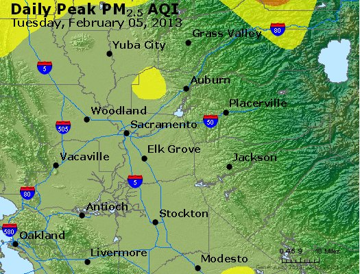 Peak Particles PM<sub>2.5</sub> (24-hour) - http://files.airnowtech.org/airnow/2013/20130205/peak_pm25_sacramento_ca.jpg