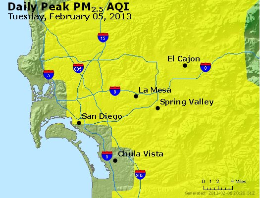 Peak Particles PM<sub>2.5</sub> (24-hour) - http://files.airnowtech.org/airnow/2013/20130205/peak_pm25_sandiego_ca.jpg