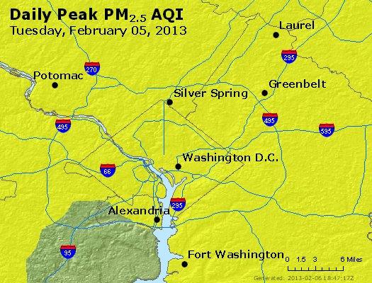 Peak Particles PM<sub>2.5</sub> (24-hour) - http://files.airnowtech.org/airnow/2013/20130205/peak_pm25_washington_dc.jpg
