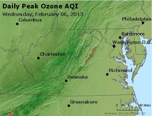 Peak Ozone (8-hour) - http://files.airnowtech.org/airnow/2013/20130206/peak_o3_va_wv_md_de_dc.jpg