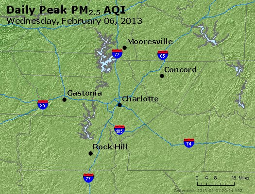 Peak Particles PM<sub>2.5</sub> (24-hour) - http://files.airnowtech.org/airnow/2013/20130206/peak_pm25_charlotte_nc.jpg