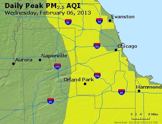 Peak Particles PM<sub>2.5</sub> (24-hour) - http://files.airnowtech.org/airnow/2013/20130206/peak_pm25_chicago_il.jpg
