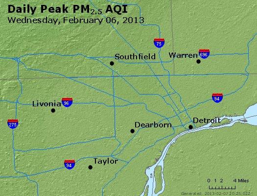 Peak Particles PM<sub>2.5</sub> (24-hour) - http://files.airnowtech.org/airnow/2013/20130206/peak_pm25_detroit_mi.jpg