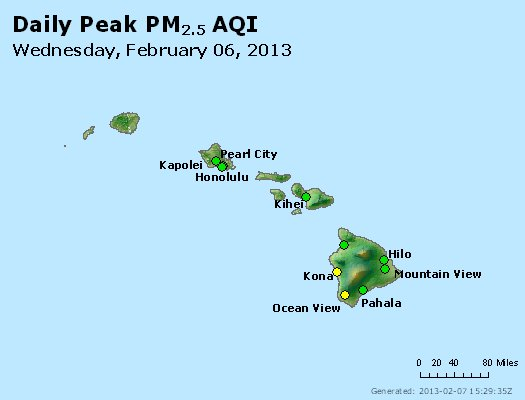 Peak Particles PM<sub>2.5</sub> (24-hour) - http://files.airnowtech.org/airnow/2013/20130206/peak_pm25_hawaii.jpg