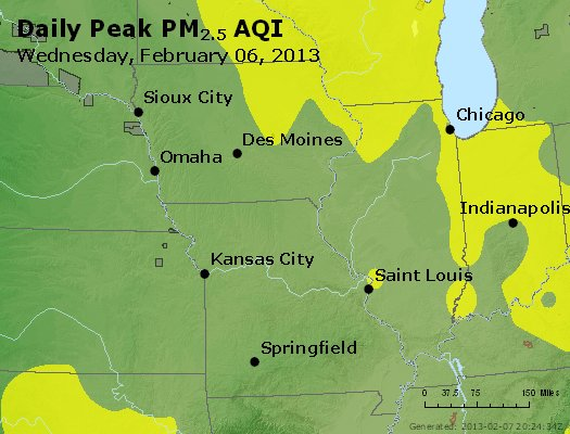 Peak Particles PM<sub>2.5</sub> (24-hour) - http://files.airnowtech.org/airnow/2013/20130206/peak_pm25_ia_il_mo.jpg