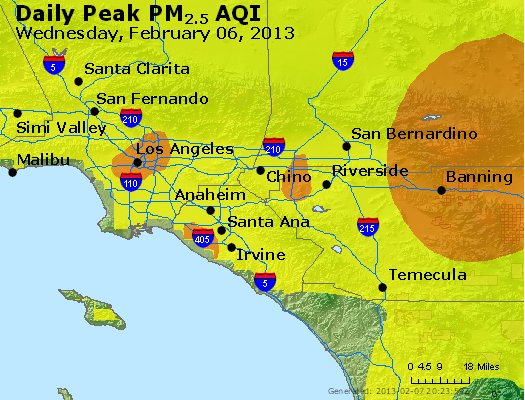 Peak Particles PM<sub>2.5</sub> (24-hour) - http://files.airnowtech.org/airnow/2013/20130206/peak_pm25_losangeles_ca.jpg