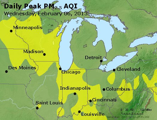 Peak Particles PM<sub>2.5</sub> (24-hour) - http://files.airnowtech.org/airnow/2013/20130206/peak_pm25_mi_in_oh.jpg