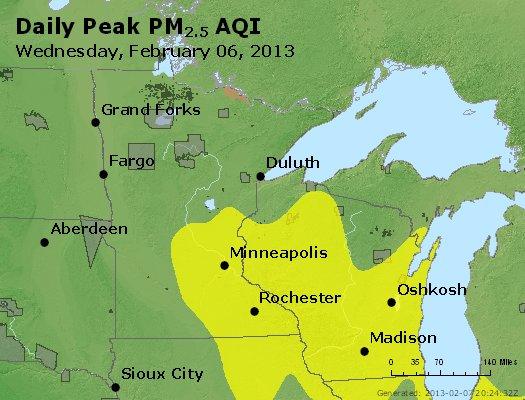 Peak Particles PM<sub>2.5</sub> (24-hour) - http://files.airnowtech.org/airnow/2013/20130206/peak_pm25_mn_wi.jpg