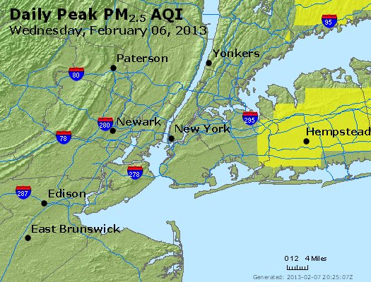 Peak Particles PM<sub>2.5</sub> (24-hour) - http://files.airnowtech.org/airnow/2013/20130206/peak_pm25_newyork_ny.jpg