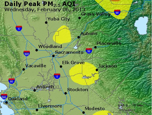 Peak Particles PM<sub>2.5</sub> (24-hour) - http://files.airnowtech.org/airnow/2013/20130206/peak_pm25_sacramento_ca.jpg