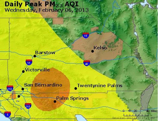 Peak Particles PM<sub>2.5</sub> (24-hour) - http://files.airnowtech.org/airnow/2013/20130206/peak_pm25_sanbernardino_ca.jpg