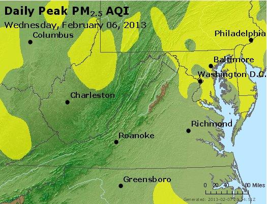 Peak Particles PM<sub>2.5</sub> (24-hour) - http://files.airnowtech.org/airnow/2013/20130206/peak_pm25_va_wv_md_de_dc.jpg