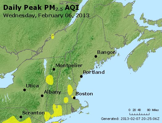 Peak Particles PM<sub>2.5</sub> (24-hour) - http://files.airnowtech.org/airnow/2013/20130206/peak_pm25_vt_nh_ma_ct_ri_me.jpg