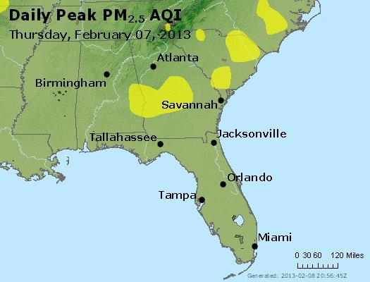 Peak Particles PM<sub>2.5</sub> (24-hour) - http://files.airnowtech.org/airnow/2013/20130207/peak_pm25_al_ga_fl.jpg