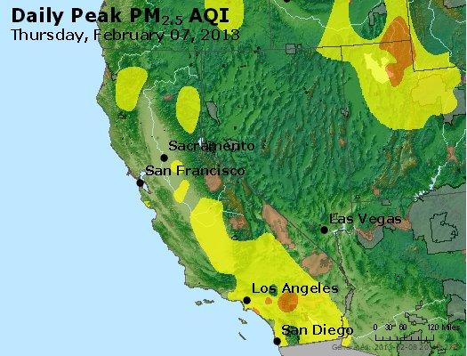 Peak Particles PM<sub>2.5</sub> (24-hour) - http://files.airnowtech.org/airnow/2013/20130207/peak_pm25_ca_nv.jpg