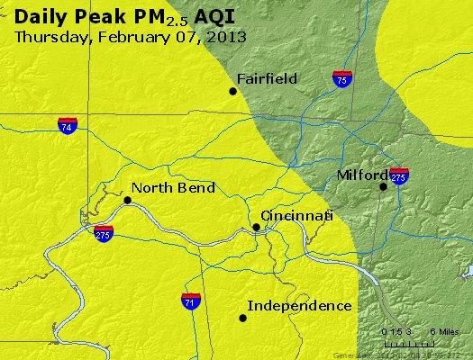 Peak Particles PM<sub>2.5</sub> (24-hour) - http://files.airnowtech.org/airnow/2013/20130207/peak_pm25_cincinnati_oh.jpg