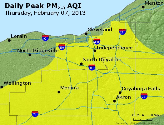 Peak Particles PM<sub>2.5</sub> (24-hour) - http://files.airnowtech.org/airnow/2013/20130207/peak_pm25_cleveland_oh.jpg