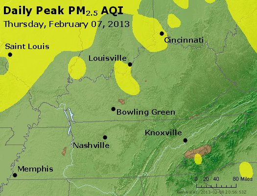 Peak Particles PM<sub>2.5</sub> (24-hour) - http://files.airnowtech.org/airnow/2013/20130207/peak_pm25_ky_tn.jpg