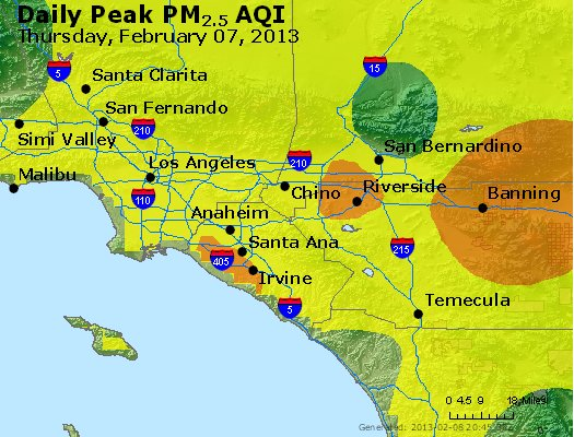 Peak Particles PM<sub>2.5</sub> (24-hour) - http://files.airnowtech.org/airnow/2013/20130207/peak_pm25_losangeles_ca.jpg