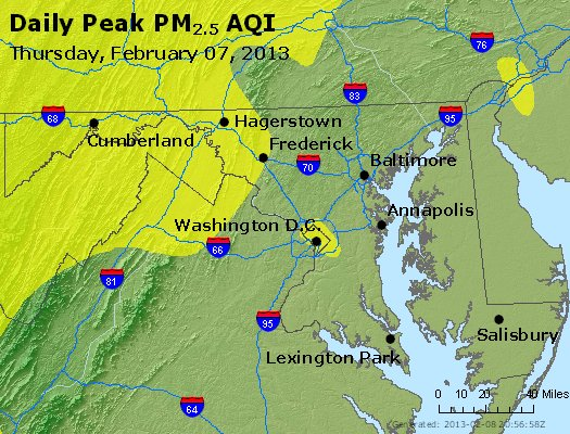 Peak Particles PM<sub>2.5</sub> (24-hour) - http://files.airnowtech.org/airnow/2013/20130207/peak_pm25_maryland.jpg